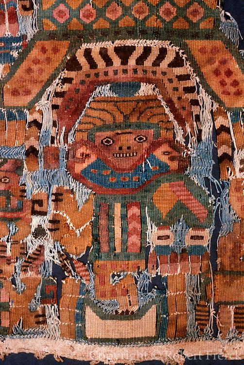 PERU PRECOLUMBIAN Mochica; anthropomorphic textile