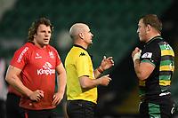 Rugby Union - 2020 / 2021 ER Challenge Cup - Quarter-final - Northampton Saints vs Ulster - Franklin Gardens<br /> <br /> Referee Alexandre Ruiz (France) speaks to Northampton Saints' Alex Waller<br /> <br /> COLORSPORT/ASHLEY WESTERN