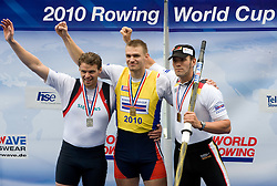 Second placed Great Britain's Alan Campbell, winner Czech republic's Ondrej Synek  and third placed Germany's Marcel Hacker at medal ceremony in finish area after Men's Single Sculls  final A at Rowing World Cup  on May 30, 2010, at Bled's lake in Zaka, Bled, Slovenia. (Photo by Vid Ponikvar / Sportida)
