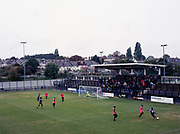 Dulwich Hamlet FC fans fill the KNK Stadium during the Oxford City game on the 11th November 2018 in South London in the United Kingdom. The KNK Stadium is Dulwich Hamlets temporary ground following eviction from their home ground, Champion Hill in March 2018.