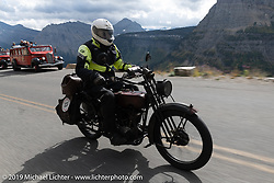Jon Dobbs riding his 1916 Harley-Davidson model J on the Motorcycle Cannonball coast to coast vintage run. Stage 12 (242 miles) from Great Falls to Kalispell, MT. Thursday September 20, 2018. Photography ©2018 Michael Lichter.