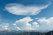 View of the Pyrenees and cloud formations from Mount Cagire, Midi-Pyrenees, France.