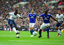 Davinson Sanchez of Tottenham Hotspur shoots at goal. - Mandatory by-line: Alex James/JMP - 06/10/2018 - FOOTBALL - Wembley Stadium - London, England - Tottenham Hotspur v Cardiff City - Premier League