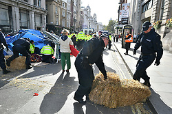 © Licensed to London News Pictures. 10/10/2019. London, UK. Police move on to remove Extinction Rebellion activists from the roads around Trafalgar Square in Westminster, central London for a fourth day running. The climate change group have blockaded the Westminster area, demanding that the government takes immediate and decisive action on climate change. Photo credit: Ben Cawthra/LNP