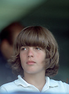 .John Kennedy Jr at the RFK Celebrity tennis tournament at Forest Hill in August 1973...Photo by Dennis Brack  B 10