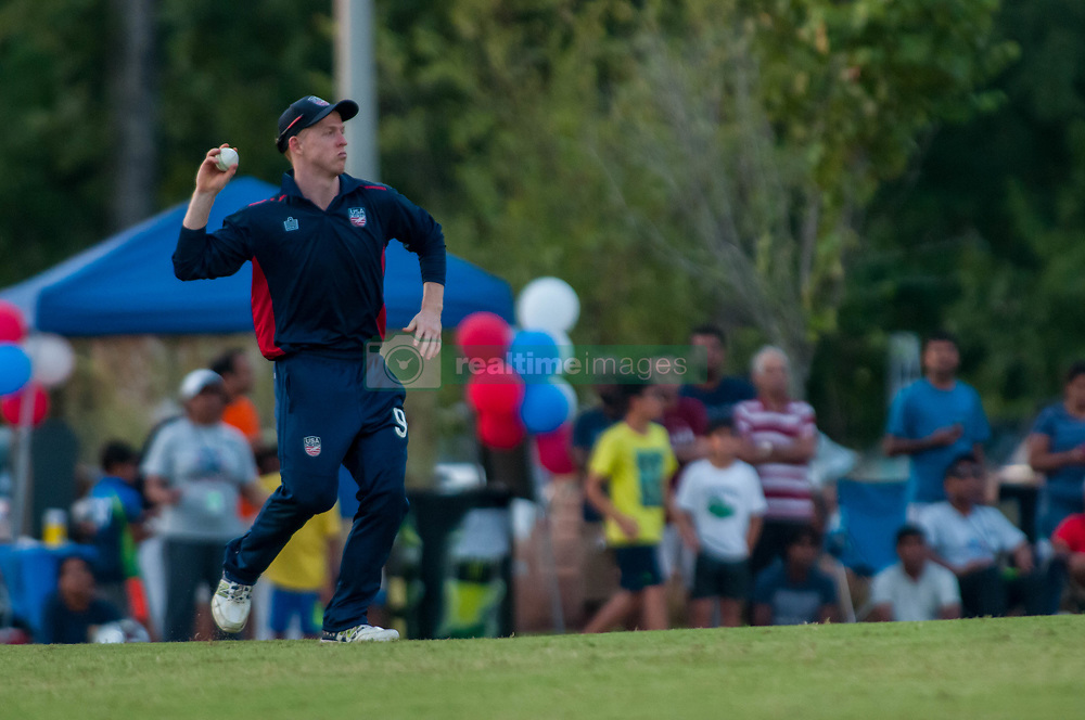 September 22, 2018 - Morrisville, North Carolina, US - Sept. 22, 2018 - Morrisville N.C., USA - Team USA DAVID WAKEFIELD (94) fields the ball during the ICC World T20 America's ''A'' Qualifier cricket match between USA and Canada. Both teams played to a 140/8 tie with Canada winning the Super Over for the overall win. In addition to USA and Canada, the ICC World T20 America's ''A'' Qualifier also features Belize and Panama in the six-day tournament that ends Sept. 26. (Credit Image: © Timothy L. Hale/ZUMA Wire)