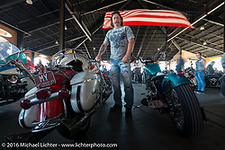 """Scott Morris with his 1962 Panhead at Warren Lane's """"True Grit"""" pre-1977 vintage show in the Jester's Pavillion at Destination Daytona during the Daytona Bike Week 75th Anniversary event. FL, USA. Sunday March 6, 2016.  Photography ©2016 Michael Lichter."""