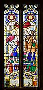 Stained glass window by by Francis Skeat 1965, Saint Luke healing a child, Chelmonidiston church, Suffolk, England, UK