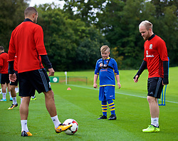 CARDIFF, WALES - Wednesday, August 30, 2017: Junior Journal reporter Rhys Howard during a training session at the Vale Resort ahead of the 2018 FIFA World Cup Qualifying Group D match against Austria. (Pic by David Rawcliffe/Propaganda)