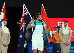 MELBOURNE, Jan. 28, 2018  Croatia's Marin Cilic (C) waves as he arrives on court to play Switzerland's Roger Federer in the men's singles final at the Australian Open 2018 in Melbourne, Australia, Jan. 28, 2018. (Credit Image: © Li Peng/Xinhua via ZUMA Wire)