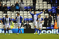 Birmingham City's Kyle Bartley (5) celebrates after he scores their 2nd goal during the Skybet football league championship match, Birmingham city v Middlesbrough at St.Andrew's in Birmingham, England on Sat 7th Dec 2013. pic by Jeff Thomas/Andrew Orchard sports photography.
