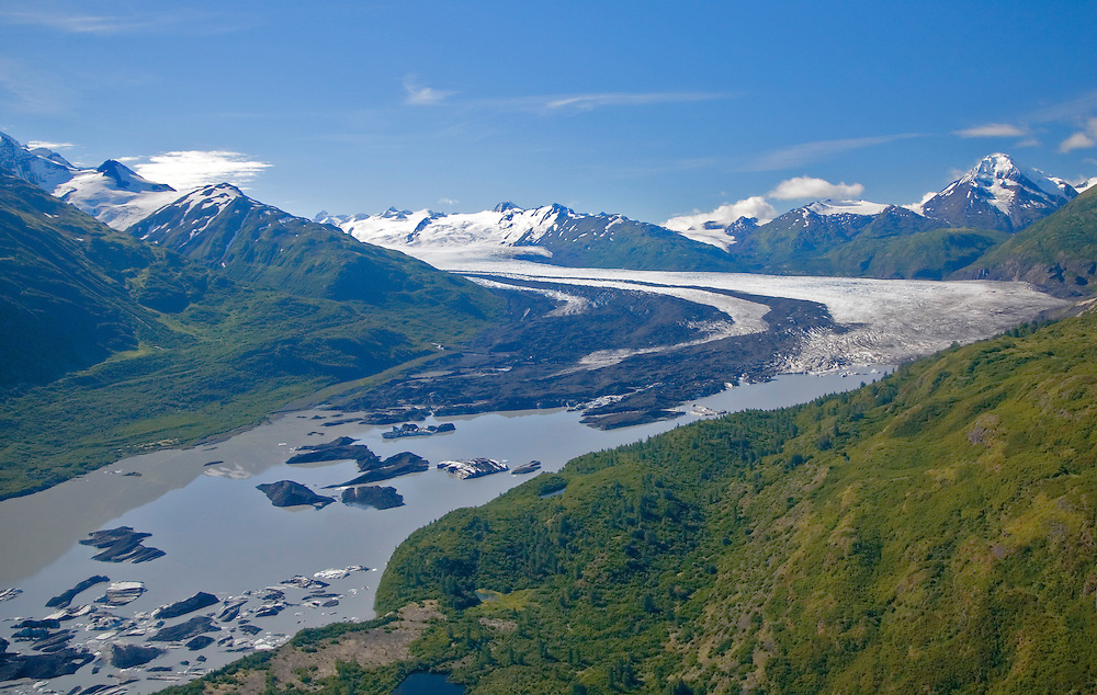 Alaska. Aerial view of Lake George Glacier, Matanuska Valley.