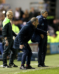 Sheffield Wednesday Manager Carlos Carvalhal shouts instructions to his players as Brighton & Hove Albion Manager Chris Hughton watches on - Mandatory by-line: Robbie Stephenson/JMP - 13/05/2016 - FOOTBALL - Hillsborough - Sheffield, England - Sheffield Wednesday v Brighton and Hove Albion - Sky Bet Championship Play-off Semi Final first leg