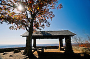 A lone tree and shelter at a scenic overlook in Arkansas.