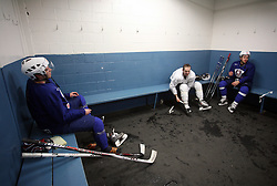 David Rodman, Andrej Hebar and Mitja Robar in wardrobe after  practice of Slovenian national team at Hockey IIHF WC 2008 in Halifax,  on May 01, 2008 in Forum Centre, Halifax, Canada.  (Photo by Vid Ponikvar / Sportal Images)