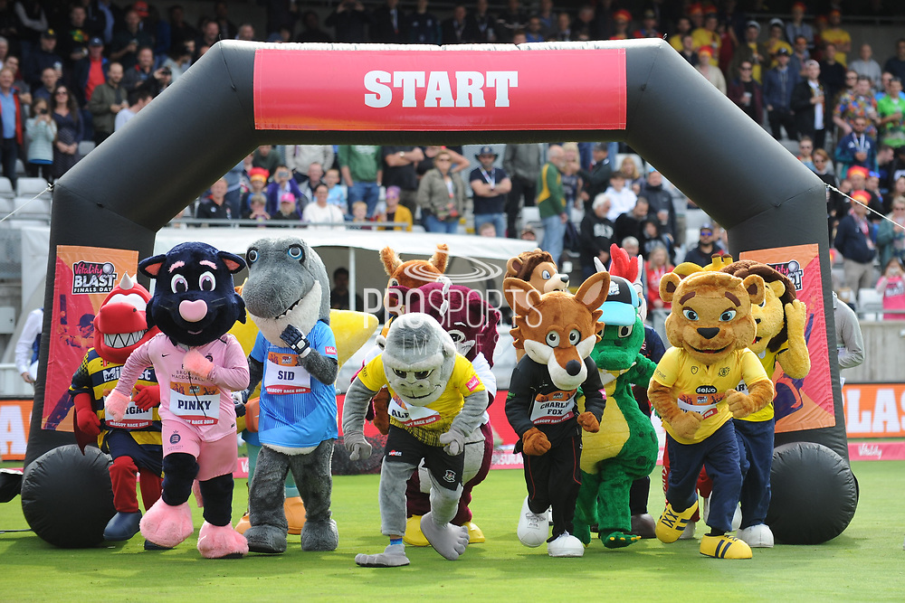 2018 mascot race gets underway during the Vitality T20 Finals Day semi final 2018 match between Sussex Sharks and Somerset County Cricket Club at Edgbaston, Birmingham, United Kingdom on 15 September 2018.