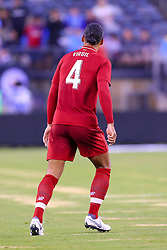 July 25, 2018 - East Rutherford, NJ, U.S. - EAST RUTHERFORD, NJ - JULY 25:  Liverpool defender Virgil van Dijk (4) during the first half of the International Champions Cup Soccer game between Liverpool and Manchester City on July 25, 2018 at Met Life Stadium in East Rutherford, NJ.  (Photo by Rich Graessle/Icon Sportswire) (Credit Image: © Rich Graessle/Icon SMI via ZUMA Press)