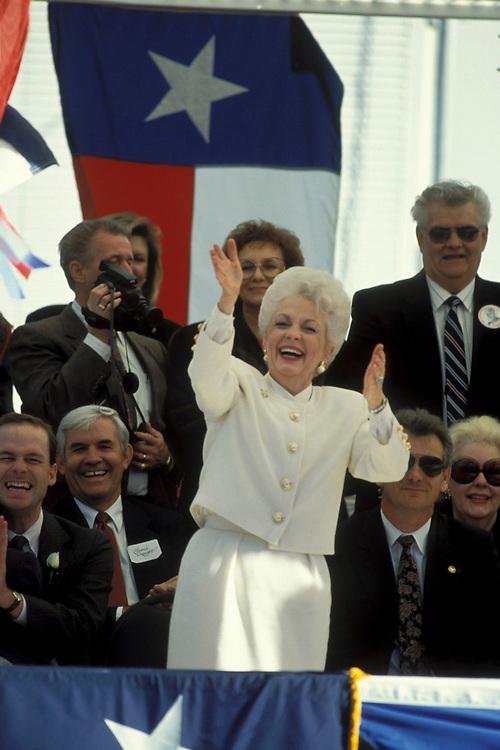 Texas Governor Ann Richards at her inaugural parade, 1990. <br /> ©Bob Daemmrich