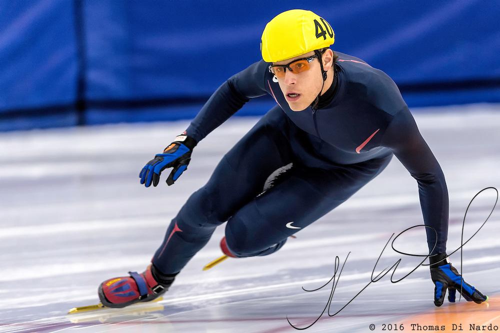 December 17, 2016 - Kearns, UT - Alexander Brewer skates during US Speedskating Short Track Junior Nationals and Winter Challenge Short Track Speed Skating competition at the Utah Olympic Oval.