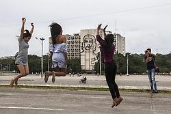 November 23, 2016 - Havana, Cuba - Cuban young girls jumping in Revolution´s plaza in Havana, Cuba, on 23 November 2016. (Credit Image: © Alvaro Fuente/NurPhoto via ZUMA Press)