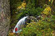 Michelle Hickner contemplates Cedar Falls, surrounded by fall colors, in Okanogan National Forest, Washington.