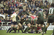 Reading. England. UK. Kieren CANMPBELL passes the ball from the breakdown during the Premiership Rugby. London Irish vs Gloucester Rugby. 16.04.2001. Madejski Stadium. <br /> <br /> [Mandatory Credit, Peter Spurrier/ Intersport Images].