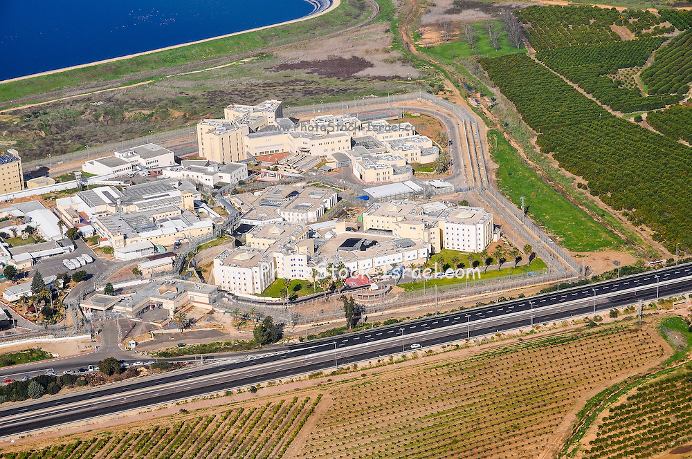 Aerial view of an Industrial Zone in the Sharon District, Israel from within a Cessna airplane