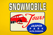Snowmobile tour at the Athabasca Glacier, Jasper National Park, Alberta, Canada