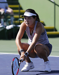 March 7, 2019 - Los Angeles, California, U.S - Lin Zhu of China, reacts during the women singles first round match of the BNP Paribas Open tennis tournament against Mona Barthel of Germany, on Thursday, March 7, 2019 in Indian Wells, California. Barthel  won 3-1. (Credit Image: © Ringo Chiu/ZUMA Wire)