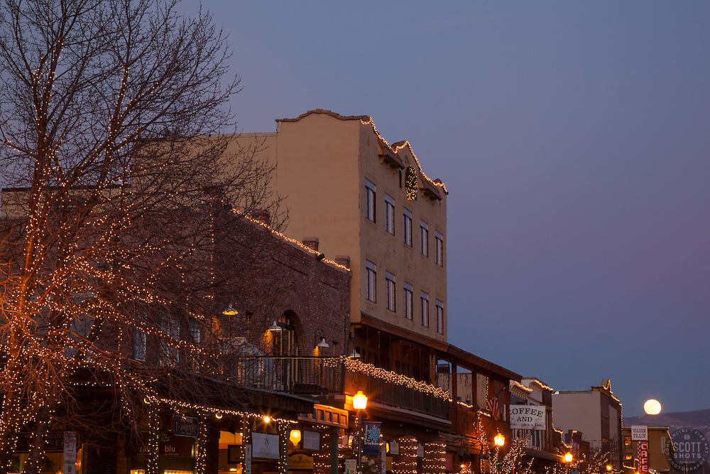 """""""Moon Over Truckee 2"""" - Photograph of a moon rising over Truckee at sunset."""