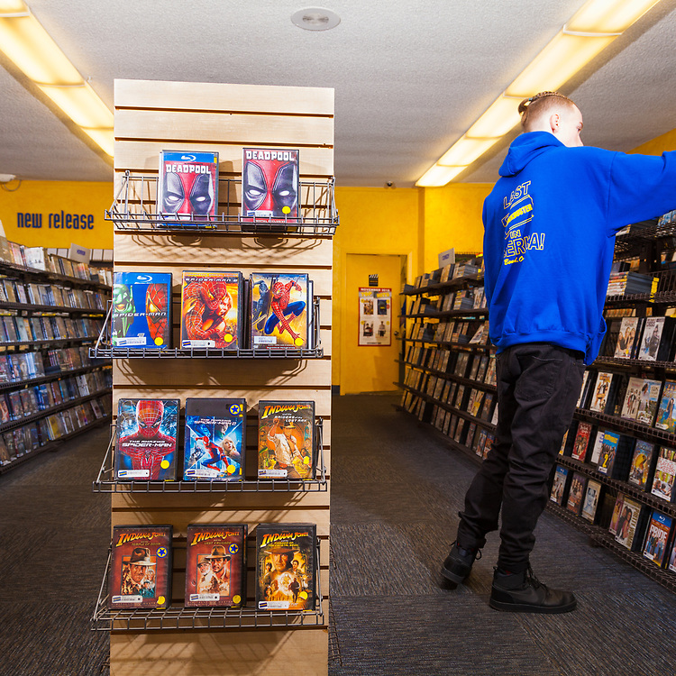 employees, restocking at The last remaining Blockbuster Video store in Bend Oregon