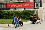 Welcome back sign outside the reopened National Gallery as coronavirus lockdown easing continues on 25th May 2021 in London, United Kingdom. Museums and gelleries are now allowed to open once again, as people start to return to normal life.