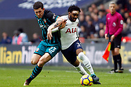 Pierre-Emile Hojbjerg of Southampton (L) tussles with Danny Rose of Tottenham Hotspur (R). Premier league match, Tottenham Hotspur v Southampton at Wembley Stadium in London on Boxing Day Tuesday 26th December 2017.<br /> pic by Steffan Bowen, Andrew Orchard sports photography.
