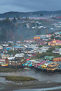 High angle view of traditional stilt houses know as palafitos near river, Castro, Chiloe Island, Chile