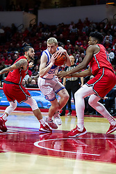 NORMAL, IL - February 22: Garrett Sturtz doubled on by Ricky Torres and Rey Idowu during a college basketball game between the ISU Redbirds and the Drake Bulldogs on February 22 2020 at Redbird Arena in Normal, IL. (Photo by Alan Look)