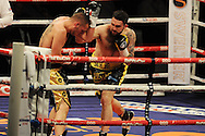 super-middleweight bout.<br /> Paul Smith of Liverpool (r) v David Sarabia of Spain. 'The second coming'  boxing event at the Motorpoint Arena in Cardiff, South Wales on Sat 17th May 2014. <br /> pic by Andrew Orchard, Andrew Orchard sports photography.