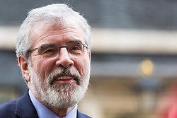 London, November 21 2017. Sinn Fein's Gerry Adams talks to the press after leaders of Northern Ireland's two main political parties the DUP and Sinn Fein met separately with British Prime Minister Theresa May at Downing Street. © Paul Davey
