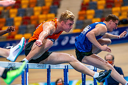Sven Jansons in action on 60 meter hurdles during the Dutch Athletics Championships on 14 February 2021 in Apeldoorn