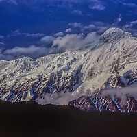 Nilgiri Peak in the Annapurna Massif towers over the Kali Gandaki Valley in Nepal.