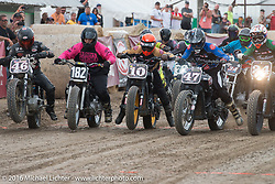 Aaron Guardado, Cameron Brewer, Hunter Klee, Jordan Graham and Roland Sands at the start of the Hooligan Flat Track Race in front of the main stage at the Buffalo Chip during the annual Sturgis Black Hills Motorcycle Rally. SD, USA. August 10, 2016. Photography ©2016 Michael Lichter.