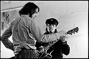 "Fall River, Massachusetts - 18 February 1968. Ian Underwood (left) and Jim ""Motorhead"" Sherwood of The Mothers of Invention prior to a performance. © 2020 Ed Lefkowicz"
