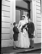 18/02/1957<br /> 02/18/1957<br /> 18 February 1957<br /> Wedding Dr K. Murphy and J. Fitzgerald at St. Mary's Church, Haddington Road and reception at Salthill Hotel, Monkstown. Bride outside the hotel..