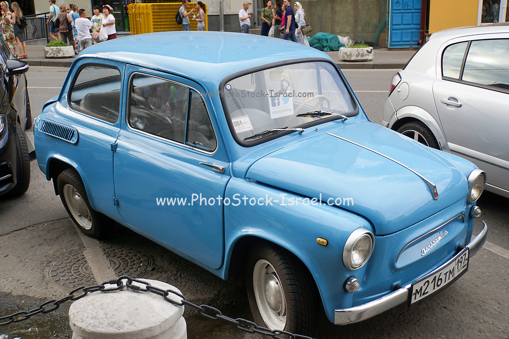 ZAZ Zaporozhets was a series of rear-wheel-drive superminis (city cars in their first generation) designed and built from 1958 at the ZAZ factory in Soviet Ukraine. Photographed in Moscow, Russia