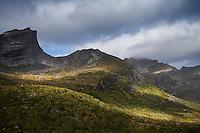 Scenic mountain landscape near Fageråa, Moskenesøy, Lofoten Islands, Norway