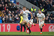 Twickenham, United Kingdom. 7th February, Henry SLADE running withe ball during, England vs France, 2019 Guinness Six Nations Rugby Match   played at  the  RFU Stadium, Twickenham, England, <br /> © PeterSPURRIER: Intersport Images