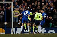 Photo: Richard Lane.<br />Chelsea v Barcelona. UEFA Champions League. 22/02/2006.<br />Thiago Motta (2nd, L) scores an own goal which gives Chelsea a 1-0 lead.