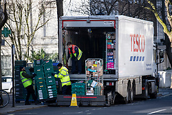 © Licensed to London News Pictures. 29/03/2020. London, UK. A delivery of food and other supplies being made to a Tesco Store in Maida Vale, west London, during a lockdown over the Coronavirus spread. Members of the public have been told they can only leave their homes to exercise briefly once a day, and to go to shops for essentials when absolutely necessary, in an attempt to fight the spread of COVID-19. Photo credit: Ben Cawthra/LNP