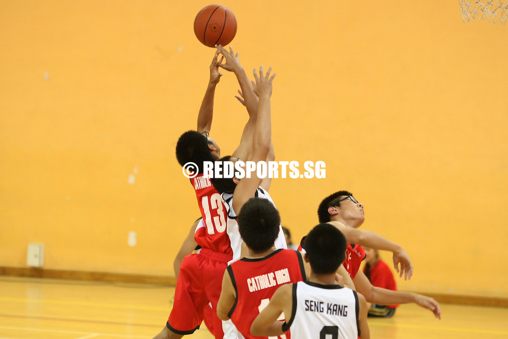 Clementi Sports Hall, Monday, August 19, 2013 – Seng Kang Secondary beat Catholic High 42–27 in their final Round 1 game of the 2013 National C Division Basketball Championship.<br /> <br /> Story: http://www.redsports.sg/2013/08/23/c-div-bball-seng-kang-catholic-high/
