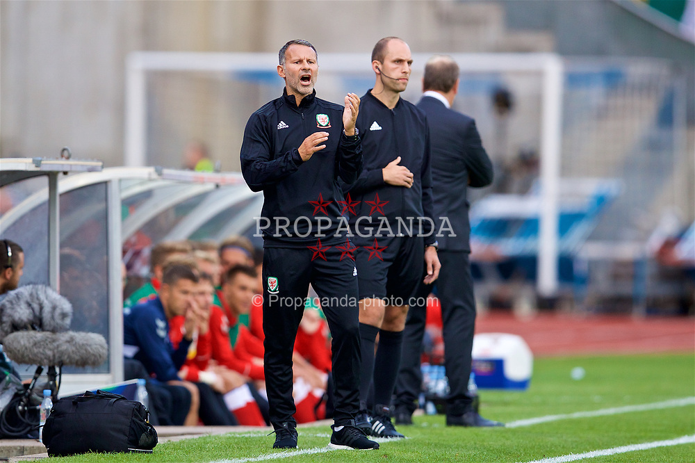 AARHUS, DENMARK - Sunday, September 9, 2018: Wales' manager Ryan Giggs during the UEFA Nations League Group Stage League B Group 4 match between Denmark and Wales at the Aarhus Stadion. (Pic by David Rawcliffe/Propaganda)