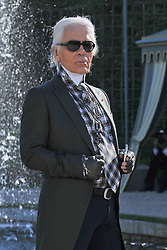 Designer Karl Lagerfeld attends his Croisiere 2012-2013 collection show, design for Chanel, held at the Chateau de Versailles, in Versailles, France, on May 14, 2012. Photo by Christophe Guibbaud/ABACAPRESS.COM
